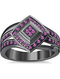 Silvernshine 1.35Ctw Round Cut Pink Sapphire Sim Diamonds 14K Black Gold Plated Engagement Ring