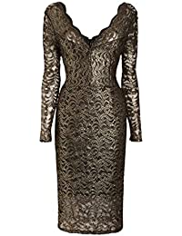 Next Black Gold Lace Bodycon Stretch Lace Party Dress