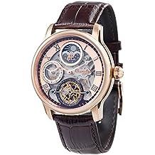 Thomas Earnhshaw – Reloj mecánico de hombre Shadow automático con esfera de oro rosa, mecanismo a la vista y correa de cuero marrón, ES-8063-02