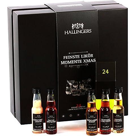 Hallingers Likörkalender Adventskalender Feinste Likör-Momente Xmas, 24 Fläschchen | Set/Mix