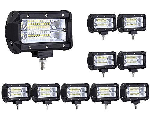 ALPHA DIMA 10X LED Arbeitsscheinwerfer 72W LED Zusatzscheinwerfer Auto 12V 24V Scheinwerfer Offroad Flutlicht Spotlight 6000K Wasserdicht IP67 Arbeitslicht -