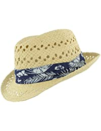 The Hat Company Men's Straw Trilby With Hibiscus Band – Light or Dark Straw
