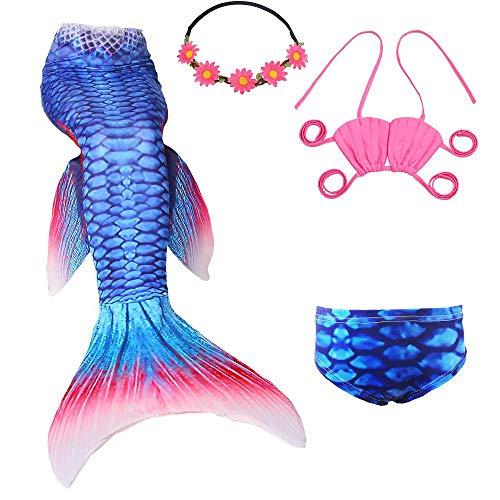 UrbanDesign Meerjungfrau Bademode Mädchen Meerjungfrau Badeanzug Schwanzflosse Zum Schwimmen Kostüm Für Kinder, 7-8 Jahre, Koralle