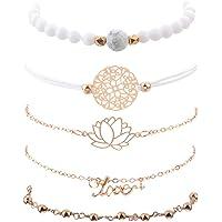 OuYou Bracelet Bijoux Creux Lotus Lettre Anglaise Pendentif Fleur Perles Femme Fille Blanches Bracelet 5pcs