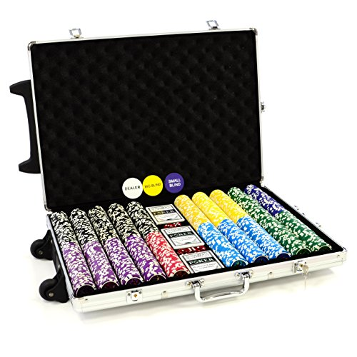 Trolley Pokerkoffer 1000 Chips Laser Pokerchips Poker Komplett Set Trolley Koffer aus Aluminium mit Schnallenschloss + Schlüssel + Griff und Rädern 11g Chip mit Metallkern inkl. Kunststoffkarten und weiterem Zubehör