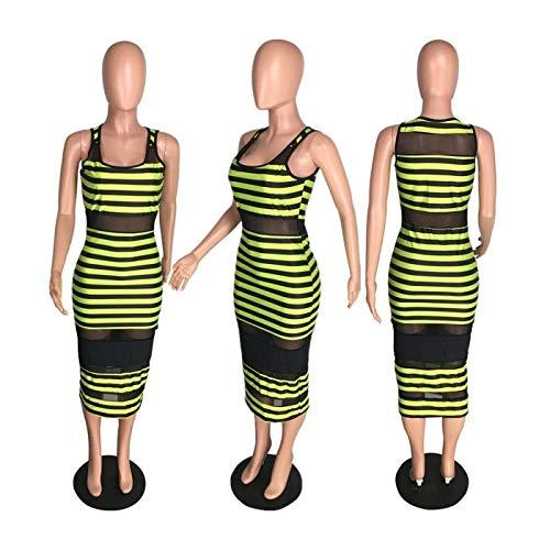 FJLOKE& Women Sleeveless mesh Patchwork Stripes Bodycon Club Party Casual midi Dress as Show (ºÚ) S Jovani Homecoming