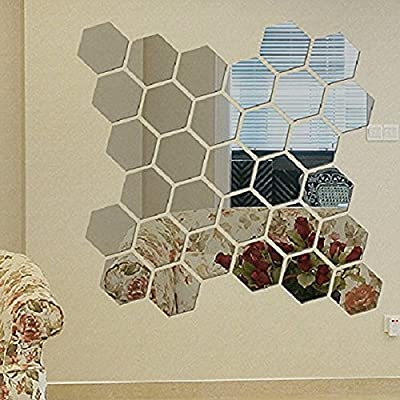 Soledi Modern 12pcs 3D Mirror Geometric Hexagon Acrylic Wall Sticker Decor Home DIY