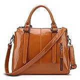 Willsego Damen Tasche Europa und die Vereinigten Staaten Retro Schulter Messenger Bag Leder Temperament Aktentasche Portable Tasche (Farbe : Braun, Größe : 32 * 10 * 27cm)