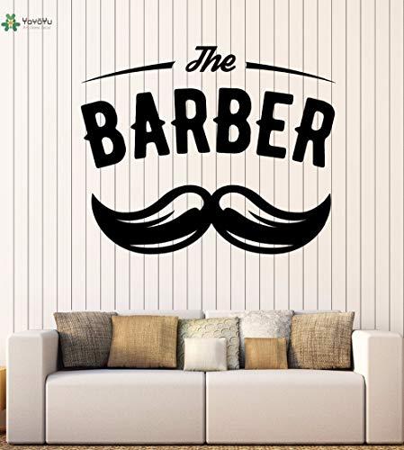zxddzl Vinyl Wall Decal Der Friseur Salon Schnurrbart Haarschnitt Innen Schere Dekoration Aufkleber 100X83 cm