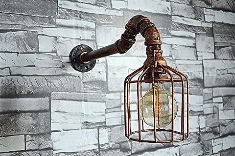 E27-Industrie Handmade Eisen Wasser Rohr Wandleuchte Creative Home Bar Cafe Pub Restaurant Garage Keller Club Metall Mauer Licht innen Dekor Persönlichkeit Cage Vintage Wandlampen,H27cm