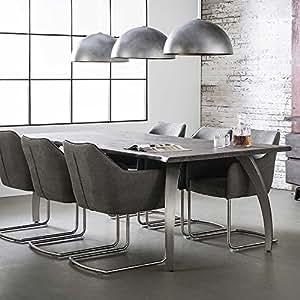 industry esstisch aus akazie dunkel massiv edelstahloptik breite 300 cm pharao24. Black Bedroom Furniture Sets. Home Design Ideas