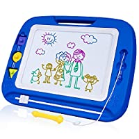 SGILE Large Magnetic Drawing Board - 4 Colors 41.5×32.5cm Doodle Pad with Stamps, Gift for Toddlers