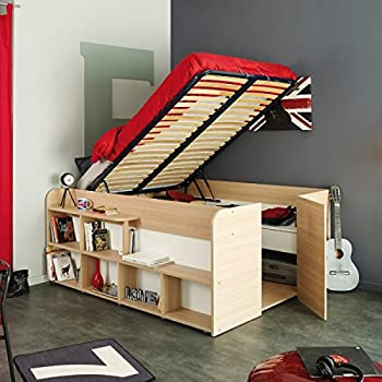 kinderbett 90x200 stauraumbett weiss samerbergbuche k che haushalt. Black Bedroom Furniture Sets. Home Design Ideas