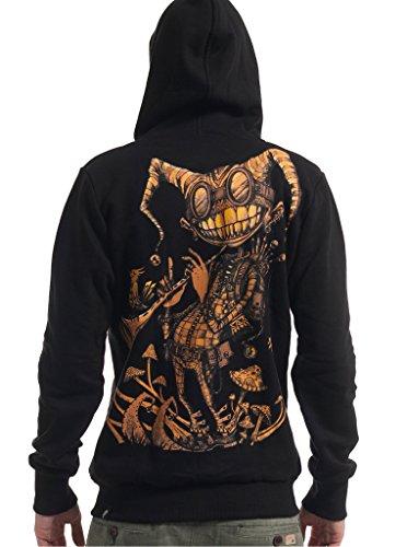 Men's Hoodie - Street Art Psychodelisches Grafikdesign - Feindruck Sweatshirt - Schwarz - (Steampunk Für Männer Outfits)