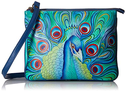 Anuschka Hand Painted Leather Women's Triple Compartment Crossbody, handbemalte Leder-Umhängetasche mit DREI Fächern für Damen, Jeweled Plume, Einheitsgröße -