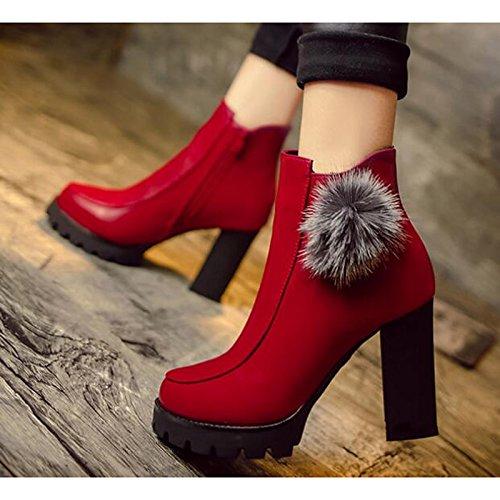 HSXZ Scarpe donna pu Autunno Inverno Comfort Bootie scarpe tacco Chunky Babbucce/stivaletti di abbigliamento casual Rosso Nero Black