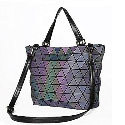 Les femmes mat Géométrie Laser miroir paillettes sac bandoulière Pliage Saser Plaid Sac Tote occasionnels de diamants lumineux Sac seau