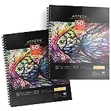 Arteza Zeichenblock 279 x 356mm | Mixed Media Sketchbooks | Spiralgebundener Skizzenblock mit 60 Blättern | 180gms Säurefreies Papier | Perfekt für Nasse und Trockne Medien