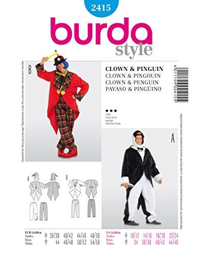 Burda 2415 Schnittmuster Kostüm Fasching Karneval Clown & Pinguin (Damen, Gr. 36 - 50) Level 3 (Kostüme Diy Clown)