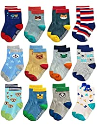6 Pairs - Trendy Dukaan® Kids Grip Socks Pack of 6 (Colors & Design May Vary)