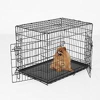 Pawhut – Gabbia Trasportino per Animali Domestici Pieghevole in Acciaio Doppia Porta 91 × 61 × 67cm Nero