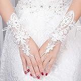 Handgelenk Länge Spitze Hochzeit Handschuhe für Braut Perlen Blumen Frauen Party Handschuhe zurück Riemen Accessoire Mariage