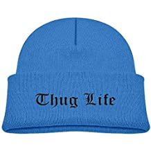 Kids Fashion Thug Life Text Graphic Casual Flexible Winter Knit Hats/Ski Cap/Beanie/Skully Hat Cap