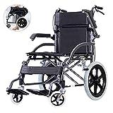 MMZZ Transportrollstühle Faltbarer Leichtgewicht-Rollstuhl, tragbarer Kleiner Trolley, Senioren-Reise-Ccooter, beweglicher Handlauf, Pedal und Handbremse, für Erwachsene, Behinderte, Senioren