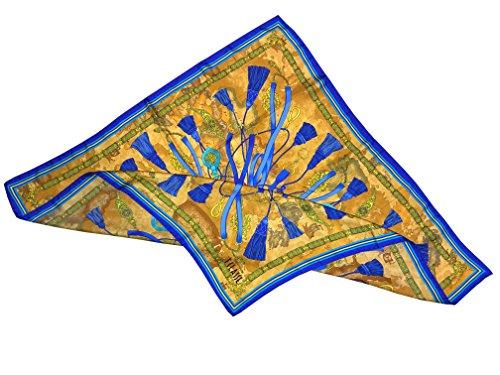 Alviero Martini - 1Classe - Foulard Alviero Martini Geo nastri e nappe toni blu e azzurro in seta 70x70