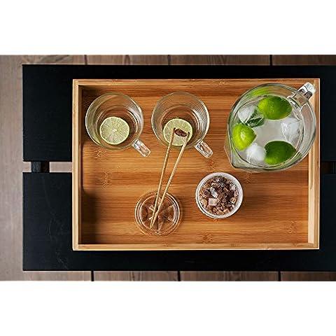 Nodshop-Bandeja de bambú, 40 x 28 x 4,5 cm, 580 g