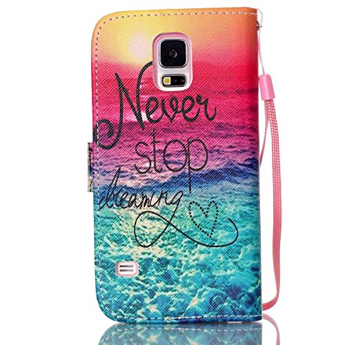 Copertura per Samsung Galaxy S5 Mini in pelle, Samsung Galaxy S5 Mini Custodia Portafoglio, S5 Mini Case Cover, Ukayfe blue Wave-this iphone is locked Design dellunità di elaborazione di vibrazione d rosa blu-Never Stop Dreaming Alba in mare