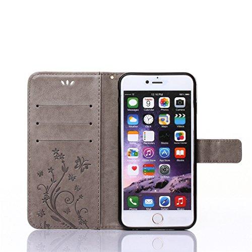 A9H Leder Tasche Case Cover für iPhone 4 4G 4s Hülle PU Schutz Etui Schale Rose Muster Design Backcover Flip Cover Wallet Hardcase im Bookstyle mit Standfunktion Karteneinschub und Magnetverschluß Etu 5HUA