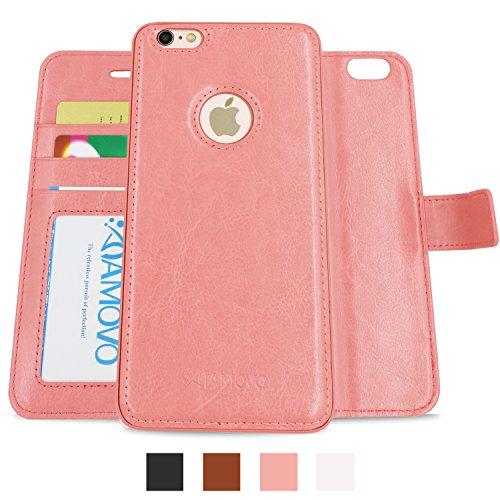 AMOVO iPhone 6s Plus/6 Plus hülle und Brieftasche , Herausnehmbare Schutzhülle, 2 Aufstellmöglichkeiten, Hochwertiges Kunstleder, Portmonee-Schutzhülle mit Aufstellfunktion, Geschenkverpackung (Coral Pink)