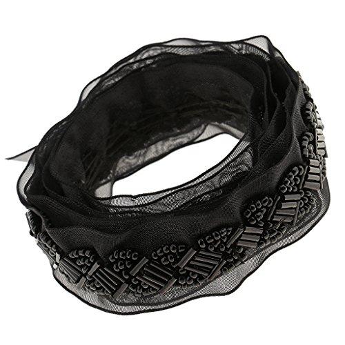 Kleidung Kostüm Mit Schwarz - P Prettyia Perlenborte Spitzenbordüre Spitzenborte Spitzenband mit Perlen für Kleidung, Taillengürtel, Kostüme, Kopfbedeckung - schwarz, one Size