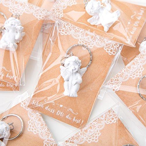 10 kleine Engel Schutzengel Schlüsselanhänger 3,5 cm MIT SCHÖN DASS DU DA BIST Karte - Engelfigur als Gastgeschenk give-away Mitgebsel Kommunion Taufe Hochzeit Geburtstag Kinder Erwachsene