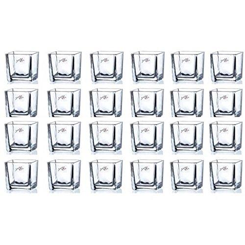 48er SET Teelichtgläser, Windlichter CUBE H. 6cm 6x6cm Glas eckig Sandra Rich