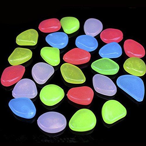 StillCool Leuchtsteine 100 Stueck künstliche Kieselstein leuchtende Kiesel Aquarium Floureszierende Pebbles Stein Garten Gehweg (Farbe) (Garten Farbe)