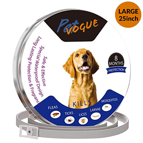 PetVogue Waterproof Flea and tick Control Collar - 8 Months Natural Non-Toxic Adjustable 25 inch Flеa Collar Waterproof Protection for Medium and Small Pets Repels Flеas, Licе, Tiсks, Mоsquitоes