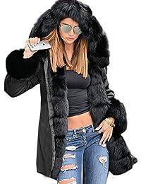 Roiii femmes d'hiver vestes chaudes longueur manteau parka à capuche en fausse fourrure épaisse taille 36-52