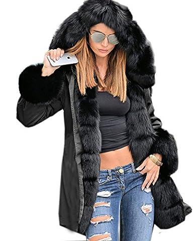 Roiii Ladies Winter Warm Thick Faux Fur Coat Hood Parka Long Jacket Plus Size 8-20 (12, Black)