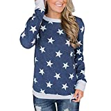 TianWlio Langarm Bluse Damen Frauen Mode Lässige Mode Lässige Lange Ärmel Star Printed Pullover Sweatshirts Tuniken Bluse Tops