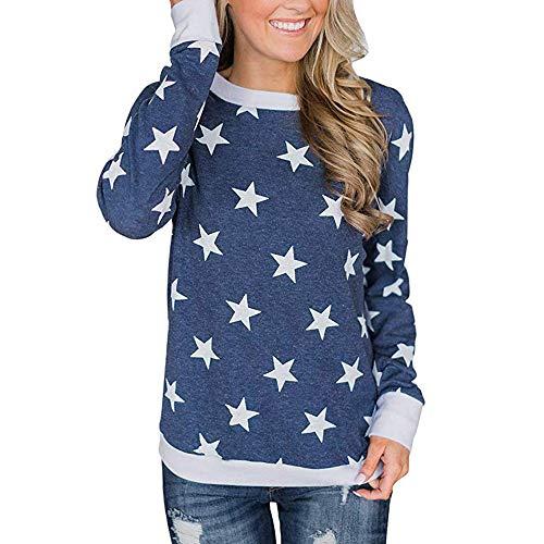 TianWlio Langarm Bluse Damen Frauen Mode Lässige Mode Lässige Lange Ärmel Star Printed Pullover...