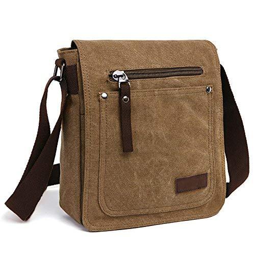 E-Bestar Herren Canvas Tasche Vintage Canvas Handtasche Schultertasche Ideal für Büro Canvas Retro Tasche für ipad Umhängetasche Vintage (Kaffee)