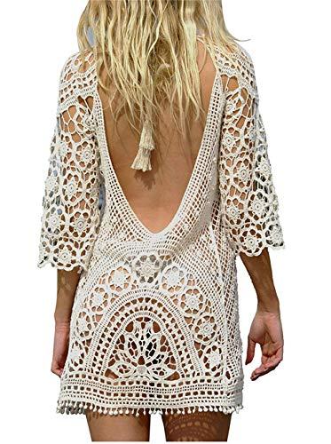 Copricostume da bagno donna in maglia uncinetto estate abito da spiaggia bikini cover up camicetta maglia tunica kaftan top (one size, senza schienale bianca)