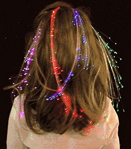 10Pcs Aufleuchten Faser Optisch LED Haar Lichter - Multicolor Flashing Barette Regenbogen Farben...