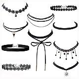 Ritche 10 Stück Choker Halsketten Set, Velvet Halskette Tattoo Halsband, Schwarz