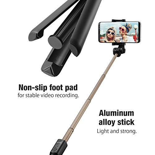 Bluetooth Palo Selfie Trípode con Control Remoto Universal para iPhone 6 6s 7 7plus Android Samsung Galaxy Sony de 3.5 6 pulgadas   BlitzWolf 3 en 1 Monópode Extensible Mini Selfie Stick Bolsillo 360° Rotación