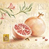Leinwand-Bild - Claudia Ancilotti: Melograno 20 x 20 cm Obst-Motiv für Küche Esszimmer Früchte modern