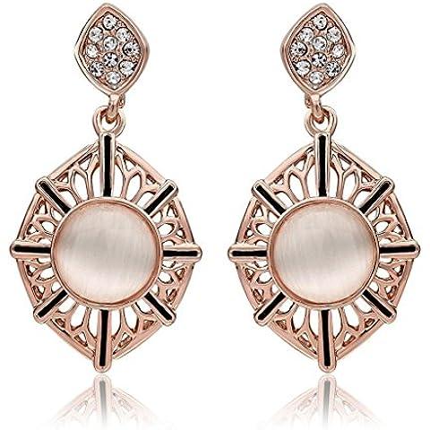 Alimab Gioielli Placcato in oro donne Goccia foglia opale rosa orecchini in oro