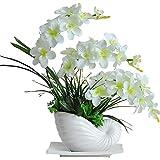 Jnseaol Kunstblumen Künstliche Blume Orchidee Keramiktopf DIY Weihnachtsgeschenk Wohnzimmer Hochzeit Party Küche Home Eine Große Verzierung Weiß-02